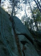 "Rock Climbing Photo: ""Ruby Slippers.""  5.10.  Bolted arete be..."