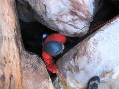 Rock Climbing Photo: Mateo exiting the hole at the top of Bad Moon Aris...