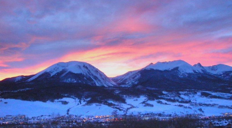 Buffalo and Gore Range at sunset.