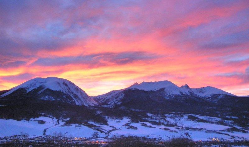 Gore Range at sunset.