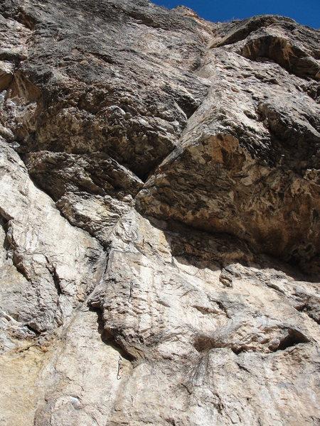Rock Climbing Photo: Hard Kor pulls the dark roof just left of Kor's Co...