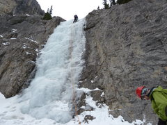 Rock Climbing Photo: Brad leading the approach ice before the walk up t...