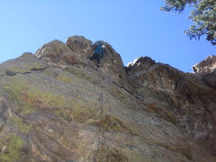 Rock Climbing Photo: Upper crux moves at top overhang.