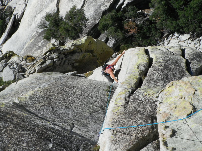 Rock Climbing Photo: Rob Beno following the beautiful P2 tips dihedral