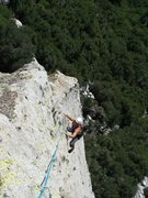 Rock Climbing Photo: Rob Beno following the runout third pitch arete (5...