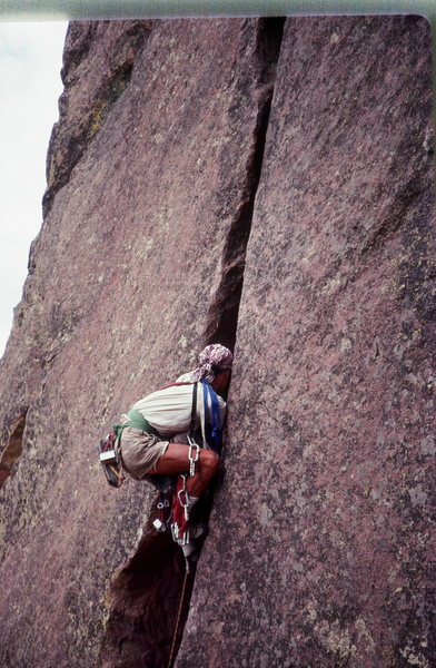 Werk Supp in Eldorado Canyon<br> Climber: Olaf<br> Photo:Bruce Sposi