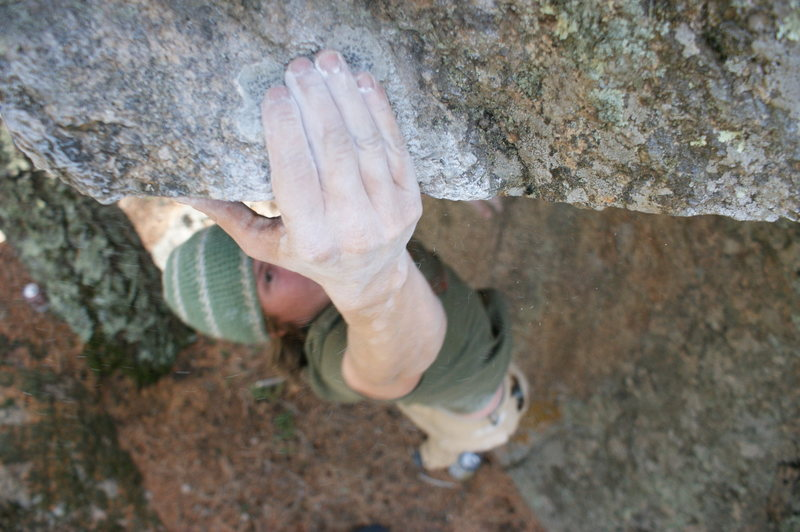 Drew bouldering Ute Pass<br> <br> photo by me