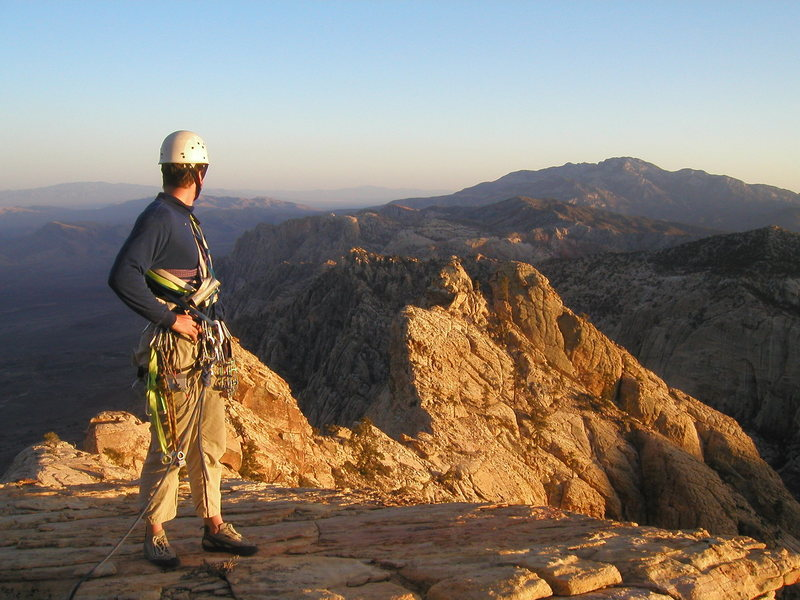 Standing atop Mt. Wilson at Red Rocks after completing 'Lady Wilson's Cleavage' with Larry DeAngelo