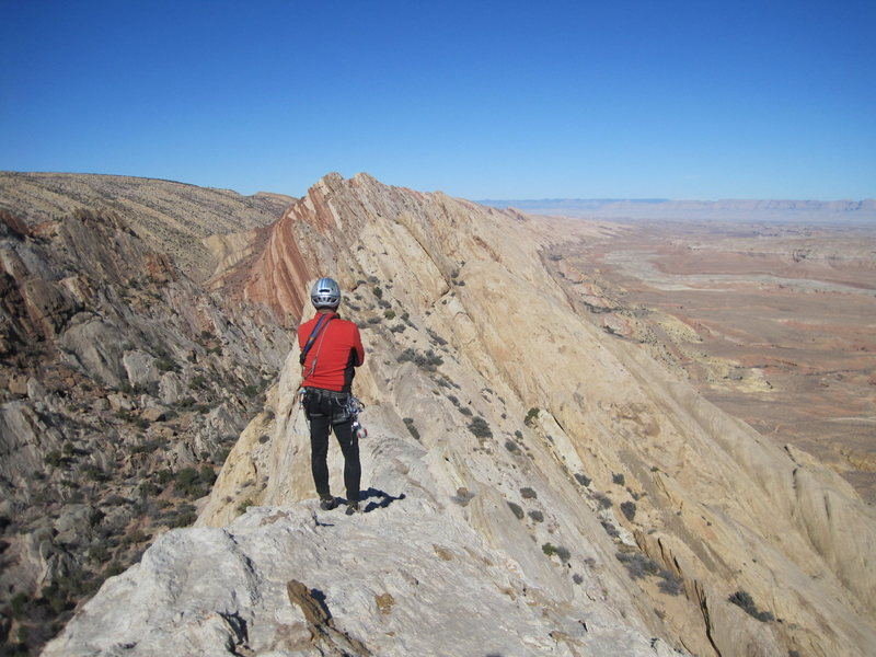 """A distant view of the """"1000' of Fun"""" climb from the top of a new route near Two Fingers Canyon"""