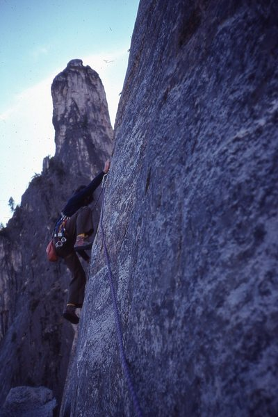 leading the 5.10c crux of the east buttress of middle cathedral, 1978
