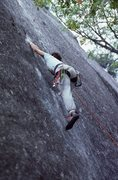 Rock Climbing Photo: free climbing the swan slab aid route 5.11d