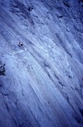 Rock Climbing Photo: Tightrope, the notoriously runout 5.11b on the gla...