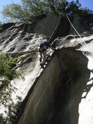 Rock Climbing Photo: Shawn Riedel just past the roof.