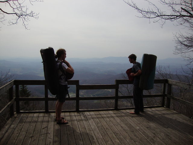 Parlier and Conor at the lookout at the Overlook Area, LRT