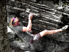 Rock Climbing Photo: Travis Melin on the FA of Crucifixion, V6, Overloo...