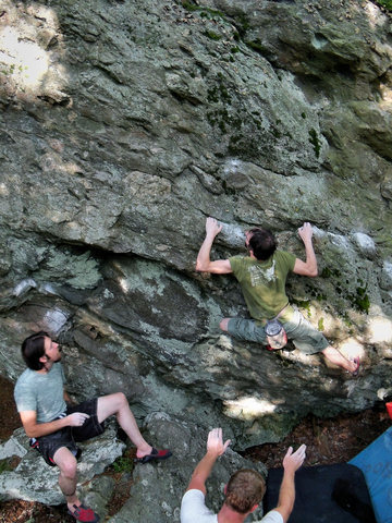 Travis Horne on the FA of Pit-Fall Traverse, SLS Area