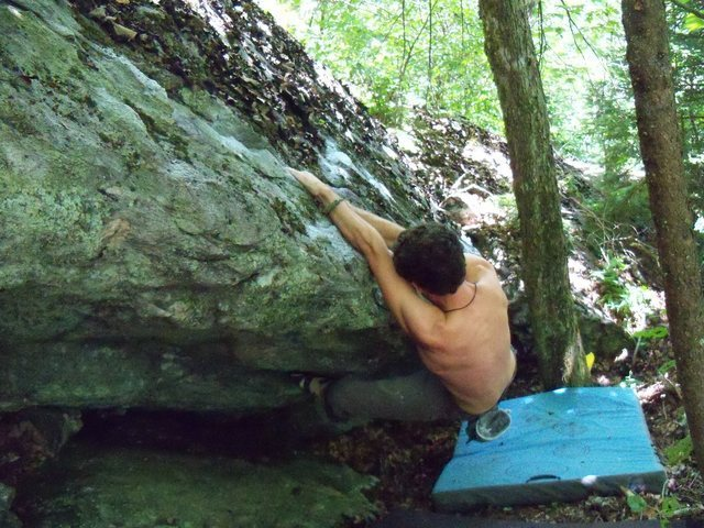 Rock Climbing Photo: Parlier struggling on the FA of Brutal Business (C...
