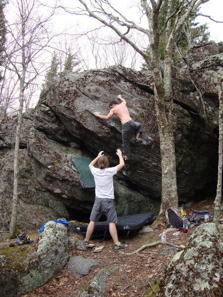 Aaron James Parlier on the topout of Nexus (V7), Overlook Area