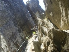 Rock Climbing Photo: Looking down from the wild flake chimney!