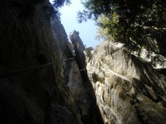 Rock Climbing Photo: A good view of the whole route, with Jesse Traugot...