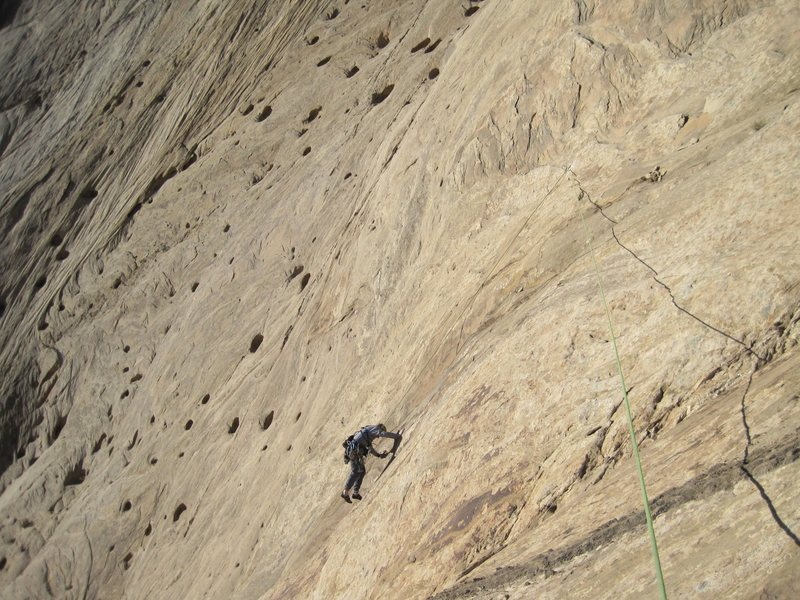 Rock Climbing Photo: Andy descending to the belay of the Holy slab.