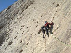 Rock Climbing Photo: Paul starting the 200' Holy Slab
