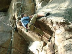 Rock Climbing Photo: pulling the overhang on toprope.
