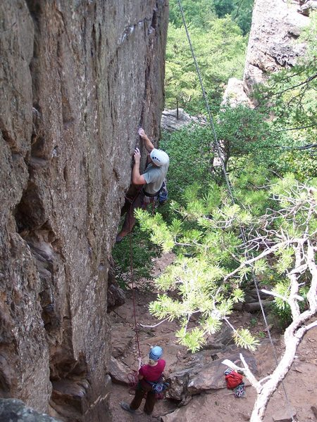 Rock Climbing Photo: Leading Finger Crack a few years ago.  I thought t...
