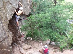 Rock Climbing Photo: Sister-in-law with wife belaying on Finger Crack