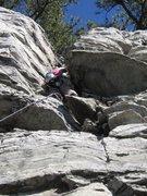 Rock Climbing Photo: Wife finishing the chimney on lead of Pee Break