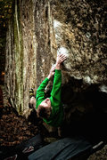 Rock Climbing Photo: Owen Mcabe hitting the first sloper on Red