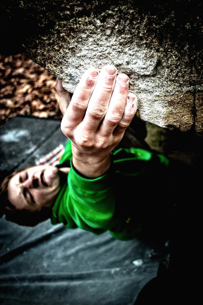 Rock Climbing Photo: Owen sticking the first move which is surprisingly...