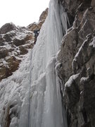 Rock Climbing Photo: Ben leading the ice pitch (pitch 3).