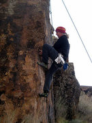 Rock Climbing Photo: Working the undercling.