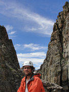 Rock Climbing Photo: Trav on top of the fin.