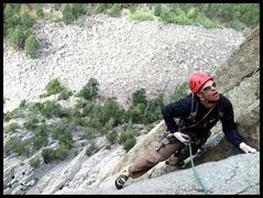 Rock Climbing Photo: Josh Knapp cleaning up pitch one of this classic.
