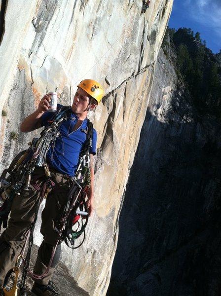 Rock Climbing Photo: Enjoying a tasty brew on the plush ledge on pitch ...
