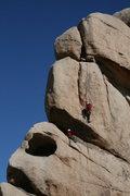 Rock Climbing Photo: M.Collar on lead, R.Shore belaying. Dyno in the Da...
