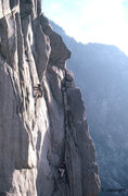 Rock Climbing Photo: Merril Bitter leading during the first ascent in 1...