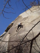 Rock Climbing Photo: Just after the crux, starting the thin more slabby...