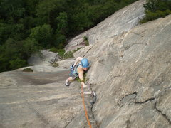 Rock Climbing Photo: Mary nearing the top of P2 on a cool summer day.