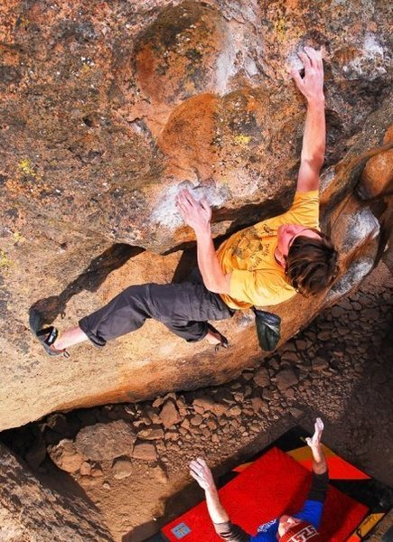 Rock Climbing Photo: Eric Wolff gives Los Locos a go. Photo: Sulli