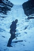 Rock Climbing Photo: Jay at The Secret Icefall in 1979.