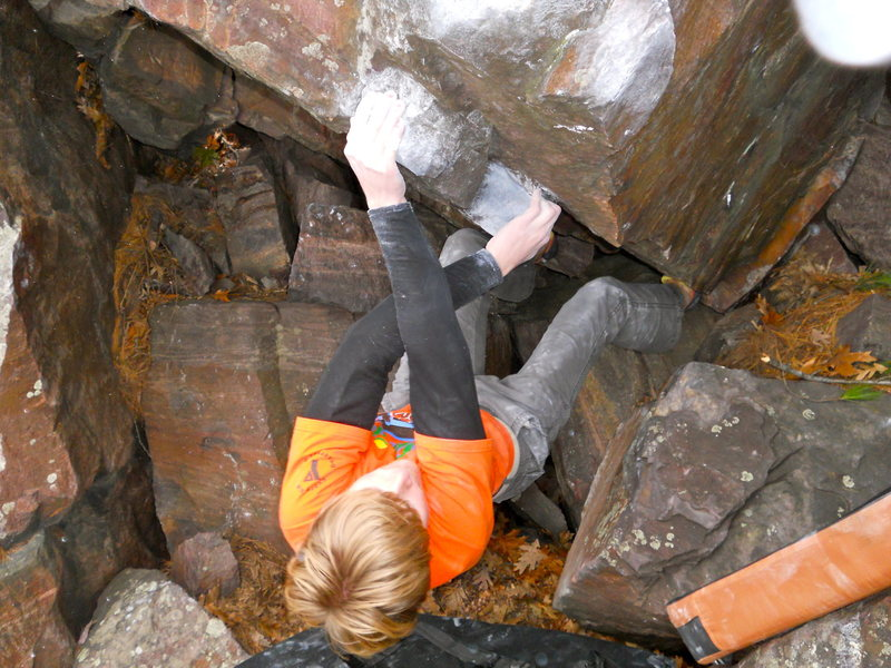 Rock Climbing Photo: Cool cross-through beta after starting matched low...