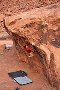 Rock Climbing Photo: Road opposite of Potash (other side of river) boul...