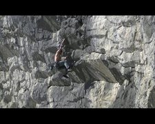 Rock Climbing Photo: launching into the overhanging upper section.... u...