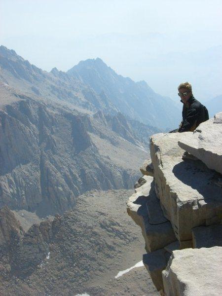 Rock Climbing Photo: Top of Mt Whitney, long way down.