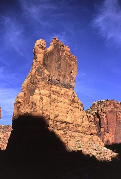 Cogswell Tower from the base. Raven is the rightmost crack system on the formation.