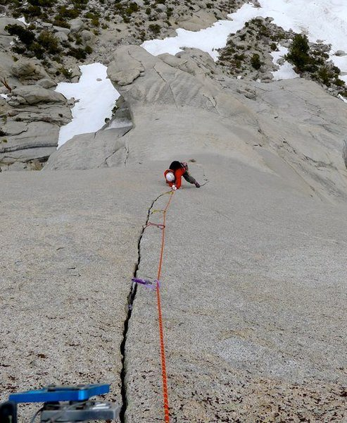 Richard Shore following the beautiful P6 10c splitter on the Beckey Route, Bastille Buttress. Photo: E. Harz