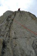 Rock Climbing Photo: Richard Shore on the 5.9R final pitch (variation)